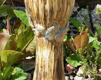 Large chalice, large goblet, wood textured chalice, leaf chalice, blue and brown goblet, rustic goblet CUSTOM ORDER