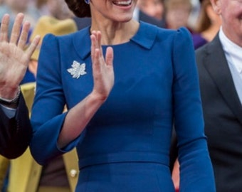 kate middleton blue pencil rockabilly celeb inspired dress custom made