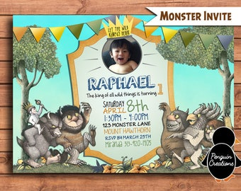 Where the wild things Invitation. Wild One Invitation. Monster Invitation. Birthday Party.
