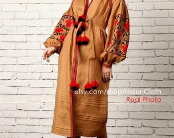 NEW!!! Linen Embroidered Dress Vyshyvanka. Ukrainian tunic, Mexican dress. Camel dress, Ukrainian clothing. Mexican embroidery Boho style