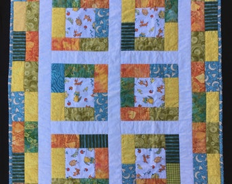 Woodland Path Baby Quilt Blanket Gift Handmade Animals *Free Shipping*