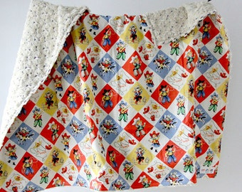 Large Baby/Toddler Blanket, Yippee Cowboys and Cowgirls with Cream/Brown Two Tone Minky Swirl, Ready to Ship