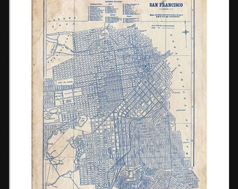 Blueprints etsy san francisco portrait map 1944 street map vintage blueprint grunge print poster malvernweather Image collections