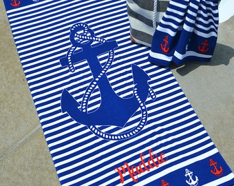 """30"""" X 60"""" KID'S & TODDLERS Personalized Beach Towel, Toddler Beach Towel, Monogram Kid's Beach Towel"""