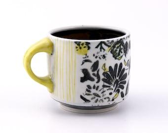 Floral Coffee Mug // Black White Yellow Turquoise // Handmade Wheel Thrown Pottery