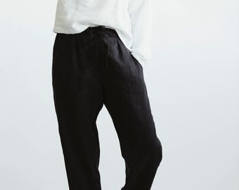 Black Linen Trousers. Drawstring Comfortable Pant. Loose Fitting Pants. Casual Linen Pants.