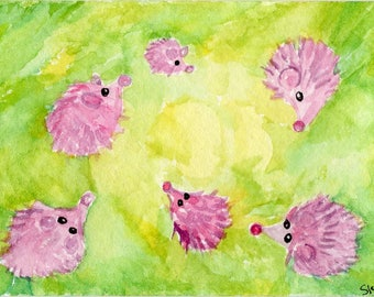 ACEO Original Hedgehogs Watercolor Painting, hedgehogs playing in maze