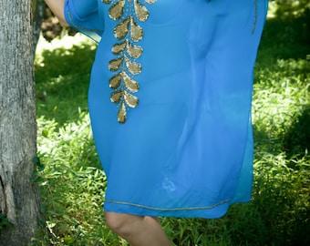 Kaftan, embroidery, cruise, resort wear, gold handwork, dress, short, v neck, blue, beads, gold