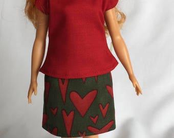 Handmade Curvy Barbie Clothes Top Pencil Skirt Designs by P D Reneau (Q805)