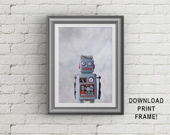 Robot poster, Vintage robot,Baby room decor,Robot photo, Robot print,Toddler room decor,Old robot image,Retro robot,Toy robot