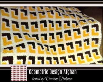 Geometric Design Afghan, C2C Graph, Written Word Chart, Crochet Pattern