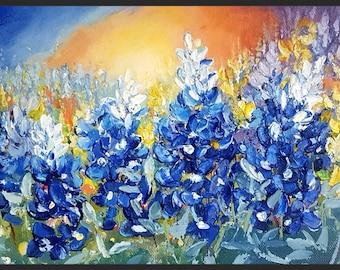 bluebonnets, bluebonnets painting, lupinus at sunset, flowers painting, bluebonnets art original