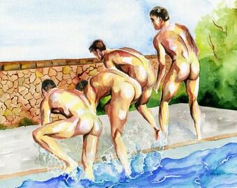 """Print of Original Artwork Watercolor Painting Erotic Male Man Nude Gay """"In the pool"""""""