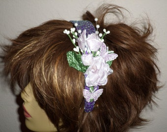 Dressy Handmade Floral Headband For Prom - Dressy Headbands For Special Events  - Quinceanera Headbands - Wedding Headbands - Bridesmaids