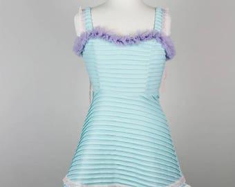 Aqua Pink Ruffle Dress. Retro Pastel Dress. Kawaii dress. Pastel Ruffle Dress. Bow Dress. Handmade ruffle Dress. Upcycled Dress. Pink Teal