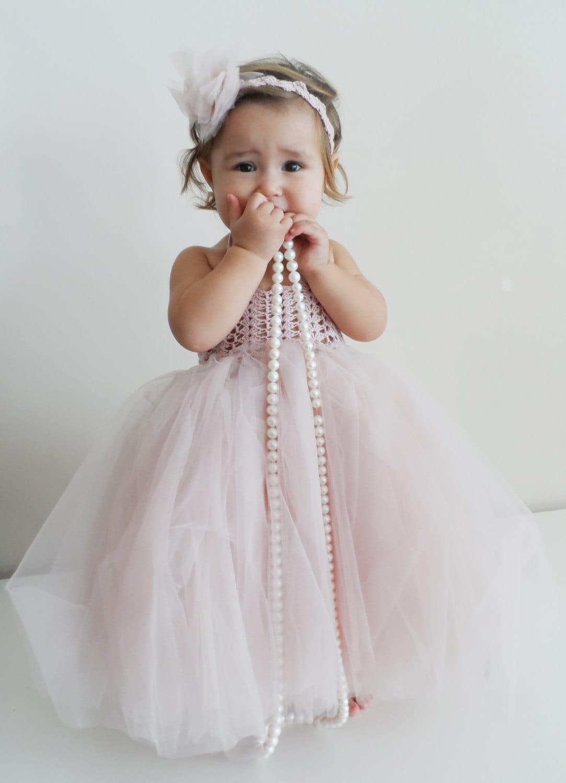 Ankle Length Baby Girl Tutu Dress. Baby Flower Girl Tulle