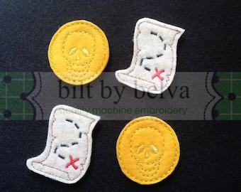 Pre-cut Felt Embellishments - Feltie Felty for Hair Bows, Clips & More - Pirate Gold Coin Skull Treasure Map