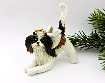 Cavalier King Charles Spaniel TriColor Angel Porcelain Christmas Ornament Figurine