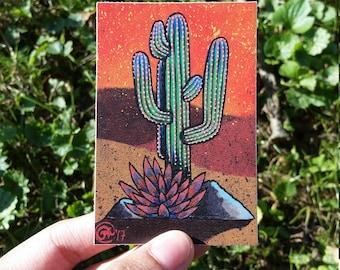 Saguaro Cactus Vinyl Sticker