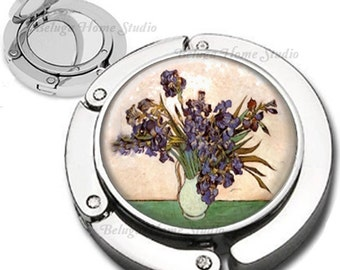 Van Gogh Iris Flowers in Vase Foldable Purse Hook Bag Hanger With Lipstick Compact Mirror