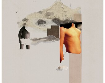 Collage with mountain - mixed media - A3 - Limited edition