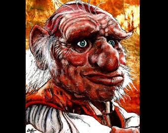 "8 x 10""- Hoggle - Labyrinth Film David Bowie Fantasy Zwerg Jim Henson Fantasy Goblin King dunkel Surreal magischen Feen Fairy Pop Kunst Druck"