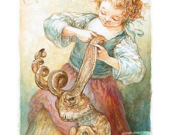 Curling Her Hare (print)- rabbit, bath, hair care, pets, puns
