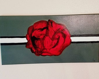 Red Rose with Grey background..Medium canvas..Elegant