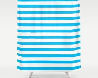 Blue Striped Shower Curtain, Kids Bathroom Decor, Boys Shower Curtain, Girls Bathroom, Fabric Shower Curtain, Standard or Extra Long
