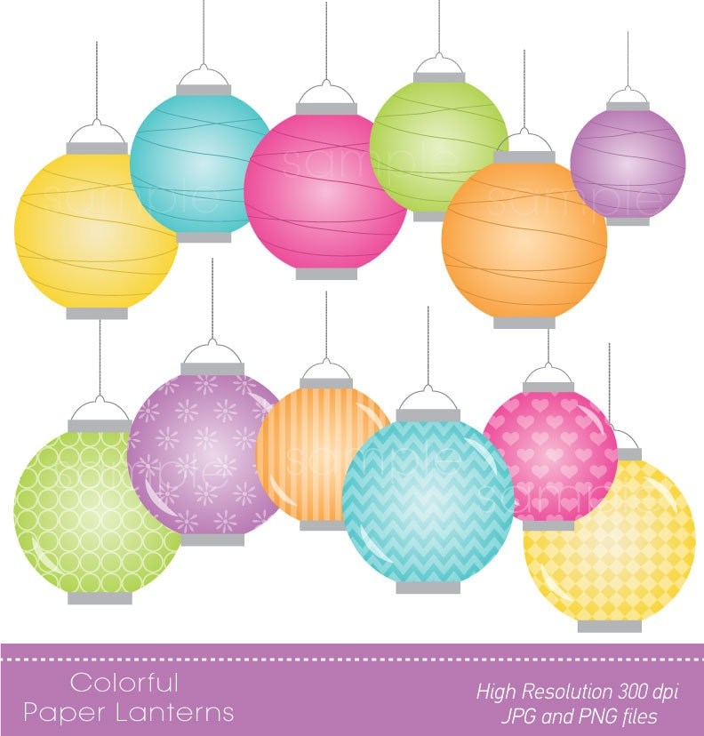 Digital Clipart Colorful Paper Lanterns For Scrapbooking