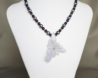 Amethyst and pearl necklace with carved chalcedony flower pendant