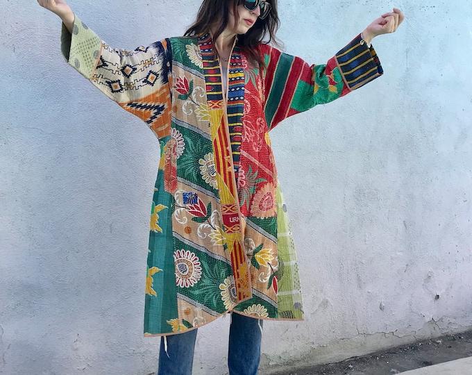 Long designer reversible cotton kantha coat