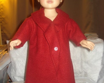 Handmade maroon full length fleece coat for 18 inch Dolls - ag53