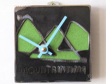 MountainTime Steel & Felt Industrial Wall Art Clock