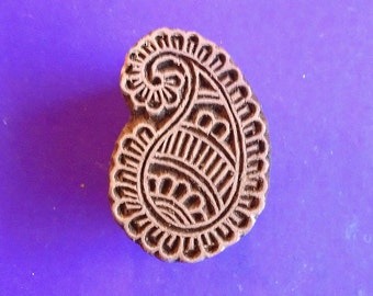 Paisley Textile Fabric Clay Pottery Ceramic Wood Stamp Hand Carved Indian Printing Block