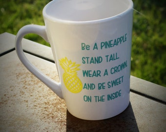Cute mug, Funny coffee mug, Pineapple mug, crown mug, wear a crown, sweet mug, quote mug, Coffee mug, coffee, gift for her