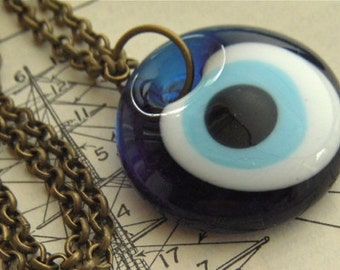 Evil Eye Necklace Handmade Blue Glass Eyeball Pendant Jewelry Long Antiqued Brass Rolo Chain Included