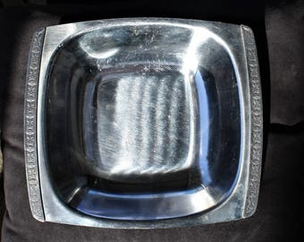 Stainless Steel Serving Tray with Decorative Edging Strip - Made in Japan