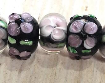 10 pieces 15x9mm Flower Beads Purple Black Pink Rondelle