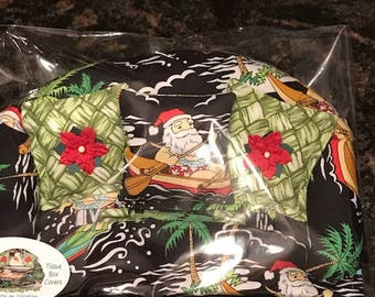 Christmas Tissue Cover, Handmade from Hawaii, Cute, Whimsical, Great Gifts, 3D Embellishments, Hawaiian Santa & More