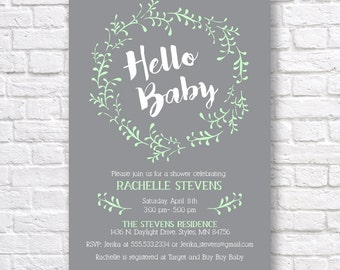 BABY SHOWER INVITATION- Gender Neutral Baby Shower Invitation- printable baby shower invitation- mint and gray invitation- hello baby-  5x7