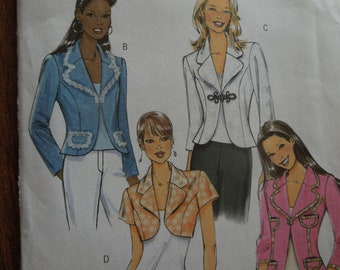 Butterick B4809, sizes 6-12, unlined, semi-fitted jacket, misses, womens, UNCUT sewing pattern