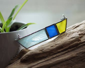 Stained Glass Jewelry - City Lights 'Rayas' Necklace - Geometric & Modern