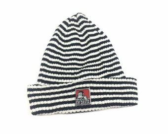 Vintage BEN DAVIS Snoe Cap Winter Hats Big Logo Striped