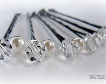 Pearl Hair Pins. Bridal Pearl Hair Pins. White Pearl Hair Pins. Set of 6 Double Pearl Crystal Bridal Hair Pins. Wedding Hair Pins