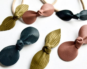 Desert Rose, Olive Green, and Cadet Blue  // Leather Knotted Hair Bows  // Bow 3 Pack //  Holiday Bow Sets //Leafy Treetop Leather