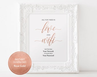 Editable PDF Template 8x10 WiFi Password sign All you need is love INSTANT DOWNLOAD Guest Wifi sign Guest Room Printable Rose Gold #DP140_42