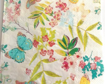 10 napkins spring flowers and BUTTERFLIES REF. 3834