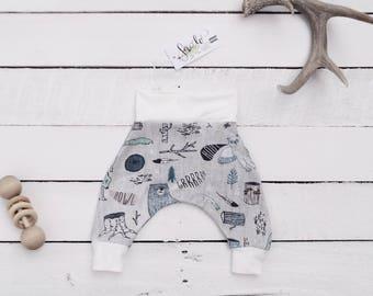ROAR trendy baby leggings, BABY harem pants, STYLISH cloth diaper pants, Baby shower gift, Baby boy nursery, Woodland, baby christmas