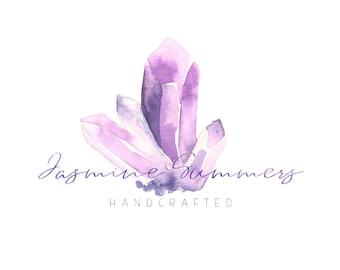 Crystal Logo Premade Logo Calligraphy Logo Boutique Logo Boho Photography Logo Watermark Design Business Branding Gemstone Amethyst